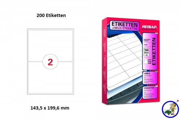 200 Drucker-Etiketten HEI032 199,8x143,5mm Heisap (1 P.)