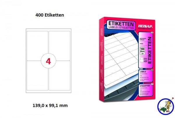 400 Drucker-Etiketten HEI033 99,1x139mm Heisap (1 P.)