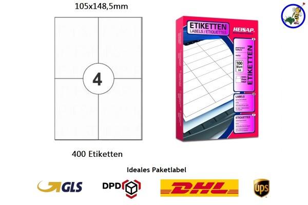 400 Drucker-Etiketten HEI024 105x148,5mm Heisap (1.P)