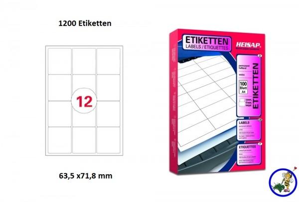1200 Drucker-Etiketten HEI036 63,5x71,8mm Heisap (1 P.)