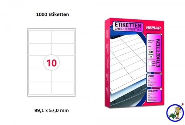 1000 Drucker-Etiketten HEI035 99,1x57mm Heisap (1 P.)