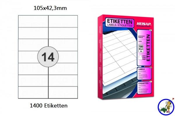 1400 Drucker-Etiketten HEI020 105x42,3mm Heisap (1 P.)