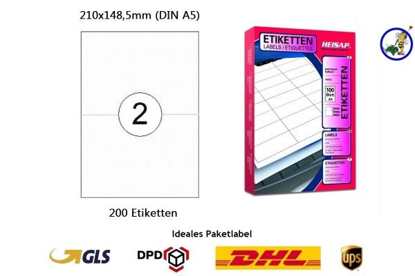 200 Drucker-Etiketten HEI026 210x148,5mm Heisap (1 P.)